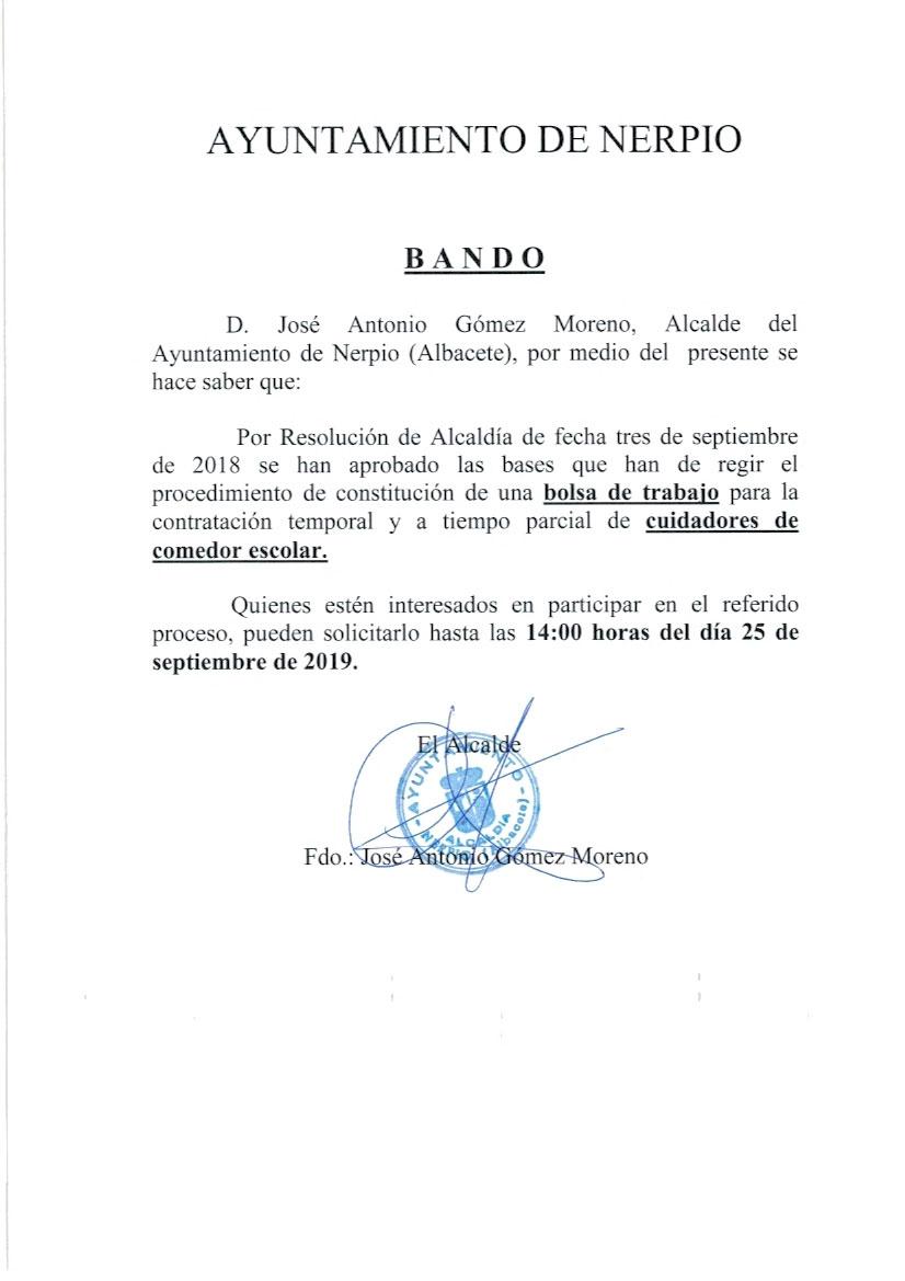 Ayuntamiento de Nerpio - Comedor Escolar. Bolsa de trabajo ...